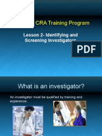 Lesson2- Identifying and Screening Investigators