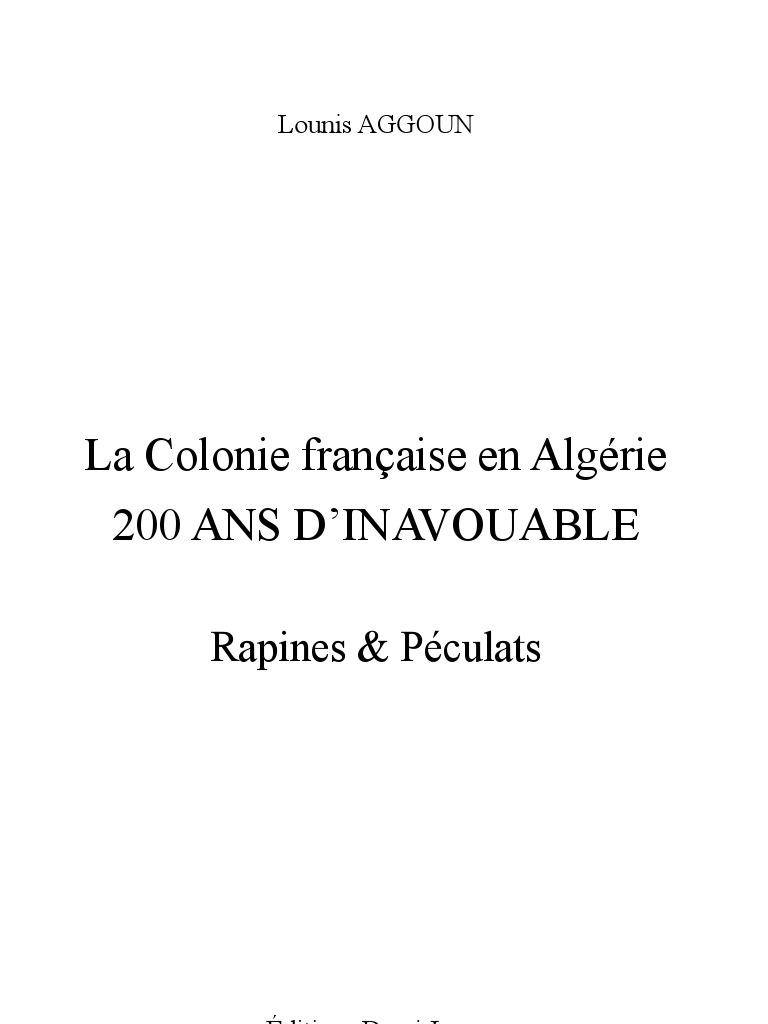 TÉLÉCHARGER LA COLONIE FRANÇAISE EN ALGÉRIE 200 ANS DINAVOUABLE