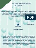 INEGI Estadística de la industria Manufacturera y Maquiladora a Junio de 2013
