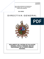 Reglamento Del Sistema de Evaluacion Integral Para El Personal Militar Profesional de La Fuerza Armada Nacional