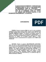 Convenio de Asociacion en Inversion y Participacion Entre Las Empresas Idima s