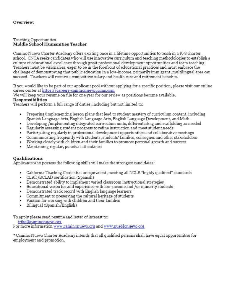 CNCA MS Humanities Teacher Posting | English As A Second Or Foreign ...
