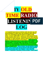 MY OLD TIME RADIO LISTENING LOG