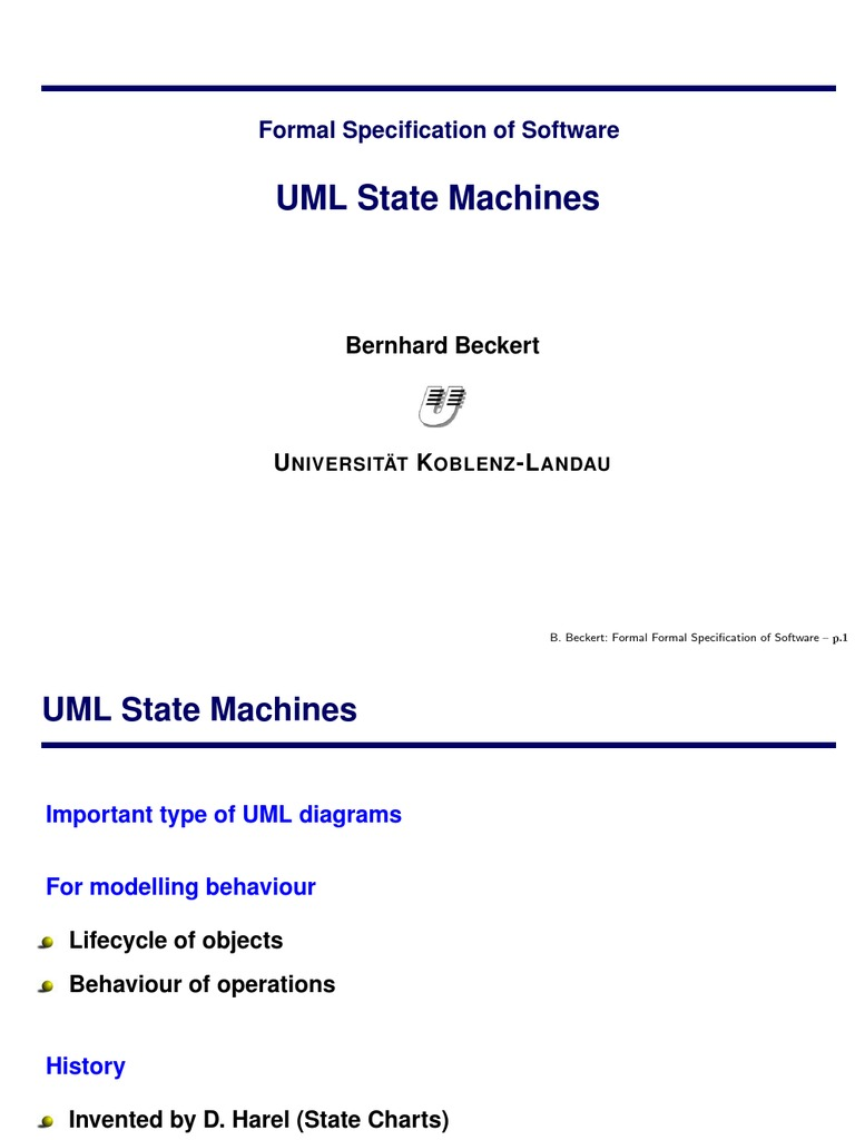 Formal Specification Of Software Uml State Machines Unified An Example Behavioral Machine Diagram For A Bank Atm Modeling Language Automated Teller