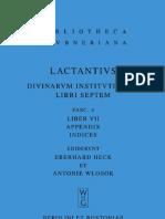 Eberhard Heck, Antonie Wlosok (trans.)Lactantius Divine Institutes