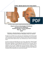Report of the Archaeological Fieldwork Carried out on the Island of Raivavae in May – June 2007