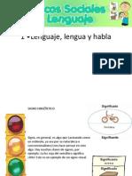 1 •Lenguaje, lengua y habla