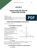 EQUATIONS DE DROITE FONCTION AFFINe