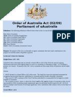Order of Australia Act (02/09)