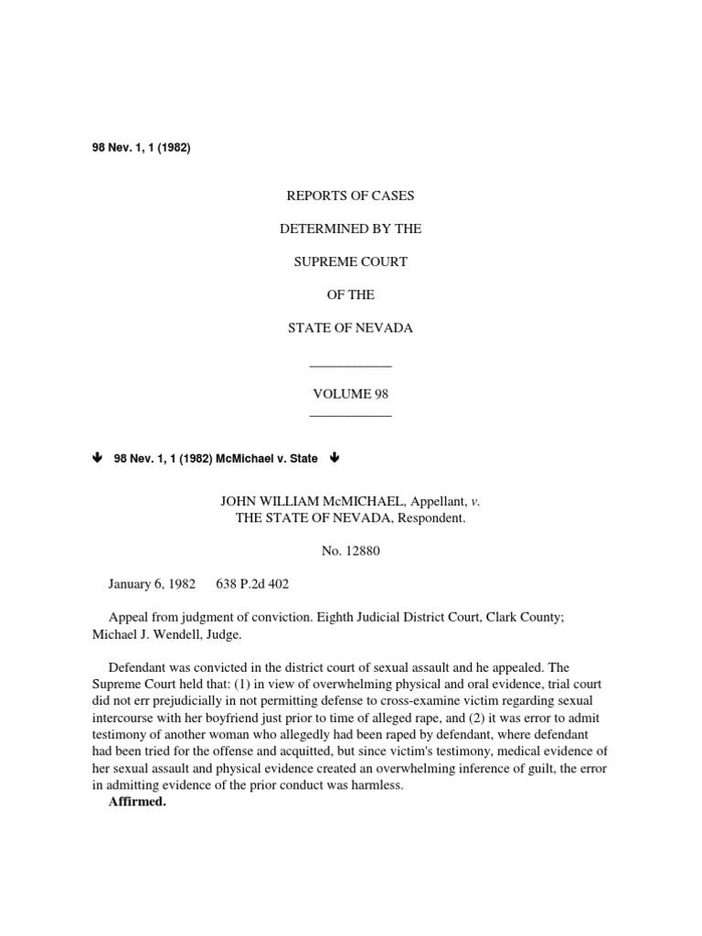 Nevada Reports 1982 98 Nevpdf Prosecutor Witness