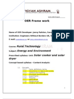 solar cooker and solar dryer Usage OER.