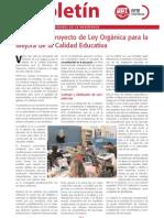 El Boletín de FETE-UGT. Análisis del Proyecto de Ley Orgánica para la Mejora de la Calidad Educativa