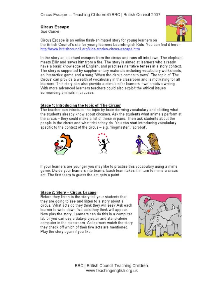 Circus Escape Circus Vocabulary
