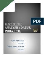 Cost Analysis Sheet Dabur