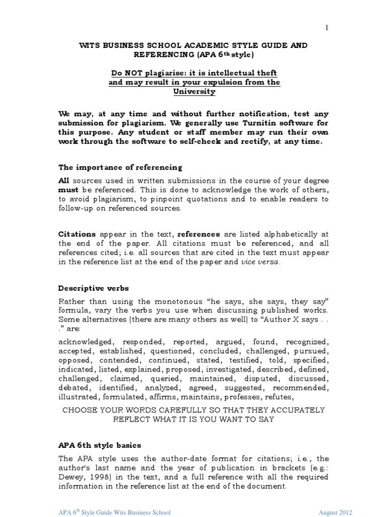 academic style guide and apa6 style 2012 final pdf citation apa