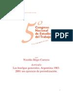 IÑIGO CARRERA - LAS HUELGAS GENERALES, ARGENTINA 1983-2001, UN EJERCICIO DE PERIODIZACION