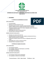 CRITÉRIOS DE ACEITAÇÃO E REJEIÇÃO DE AMOSTRAS DE ACORDO COM CADA SETOR.docx