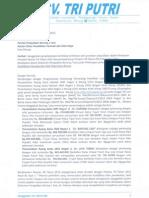 Surat Sanggahan Cv. Tri Putri Dikpora