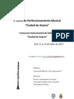 V Curso de Perfeccionamiento Mus ical Ciudad de Arjona. I Concurso Instrumental de JÛvenes IntÈrpretes Ciudad de Arjona. 2013.