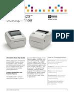 Zebra GC420 Direct Thermal Printer Datasheet