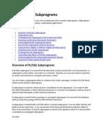 plsql subprograms