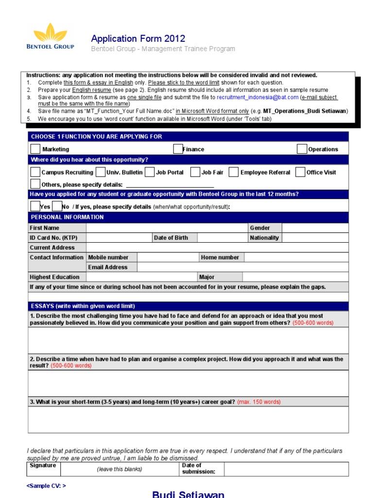 MT Application Form (Eng)2 (1) | Résumé | Email