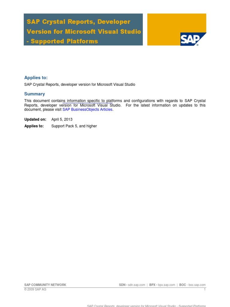 SAP Crystal Reports, Developer Version for Microsoft Visual Studio