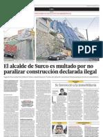 El alcalde de Surco es multado por no paralizar obra ilegal