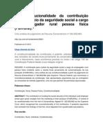 Da constitucionalidade da contribuição para o custeio da seguridade social a cargo do empregador rural pessoa física