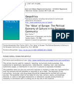 The 'Value' of Europe The Political Economy of Culture in the European Community 2011