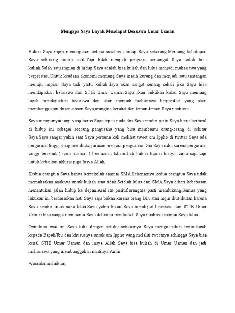 contoh essay untuk pengajuan beasiswa kse