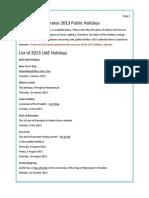 UAE Public Holidays 2013