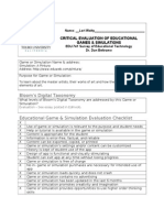 critical evaluation of game or simulation form