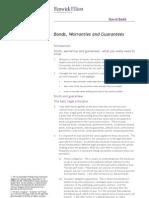 Bonds, Warranties and Guarantees