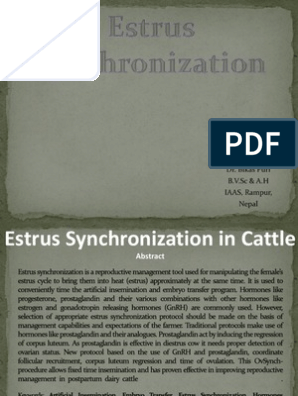 estrus synchronization in cattle/ppt file | Luteinizing