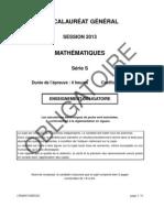 Bac S 2013 Mathematiques Obligatoire