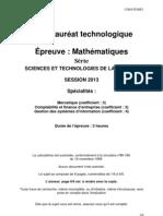 Bac STG 2013 Maths Mercatique CFE GSI