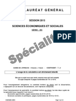 Bac ES 2013 SES Specialite