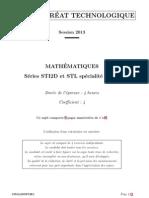 Bac STI2D STL 2013 Maths Specialite SPCL