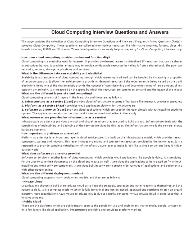 cloud computing interview questions and answers cloud computing