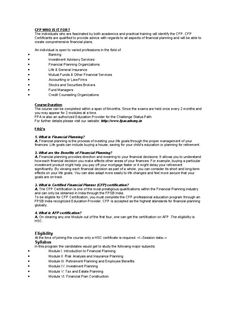 Cfp Insurance Test Assessment