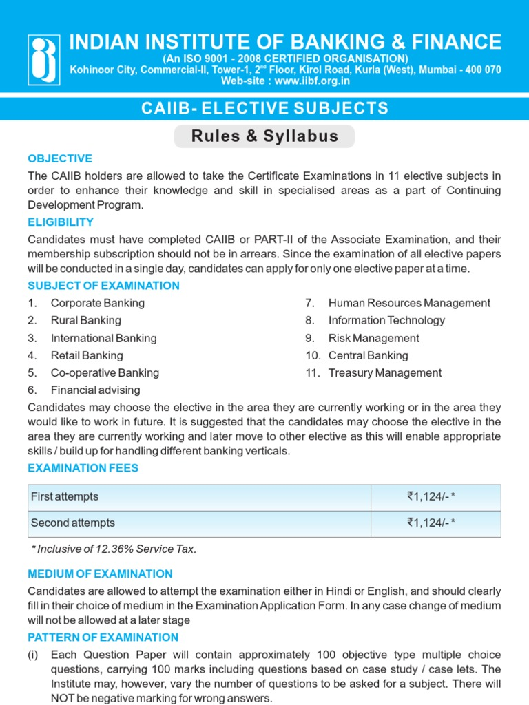 Workbooks jaiib workbook : CAIIB Elective Papers Low 032013 | Reserve Bank Of India | Human ...