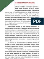 Noţiunea şi clasificarea imunităţilor şi privilegiilor diplomatice