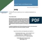 Paraguay-Informe 2012 Sobre La Consulta Del Art. IV_Temas Seleccionados