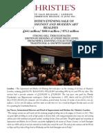 Christie'S Evening Sale Of  Impressionist And Modern Art  Realises  £64.1 Million/ $100.4 Million / €75.2 Million