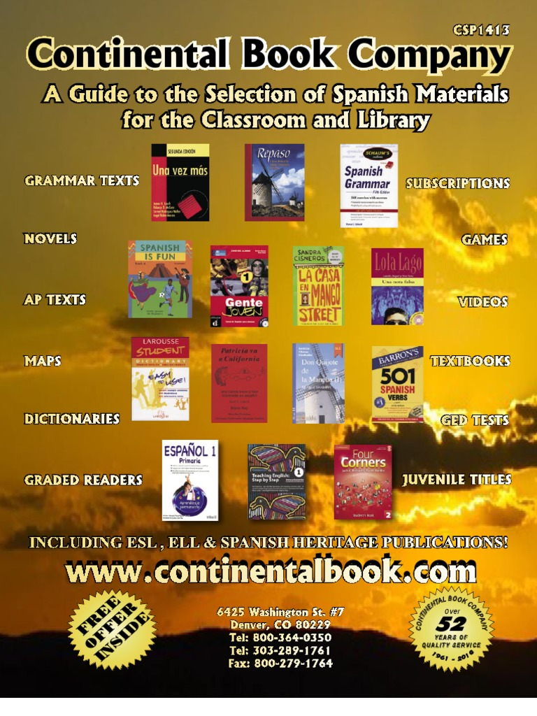 Workbooks workbook in spanish three years : Continental Book Spanish ESL Spanish Bilingual Catalog ...