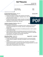 sample slp grad student potential cf resume
