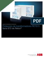 1MRK504111S1002 Es Proteccion de Transformadores RET670 ANSI