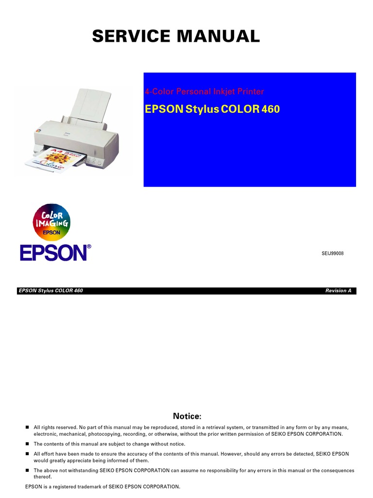 Epson Stylus Color 460 Service Manual | Electronic Circuits | Manufactured  Goods