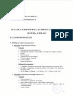 Tematica Bibliografie Licenta Iulie 2013